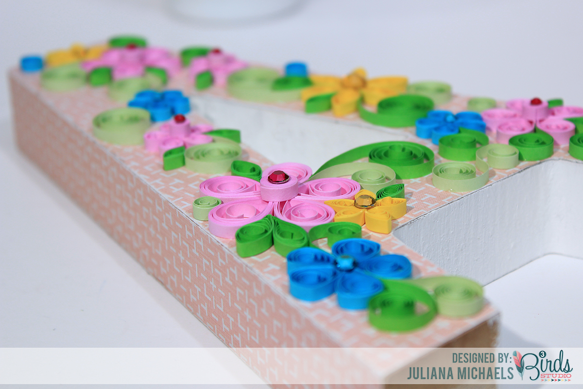 Altered Wood Letter With Patterned Paper & Quilling by Juliana Michaels for 3 Birds Design