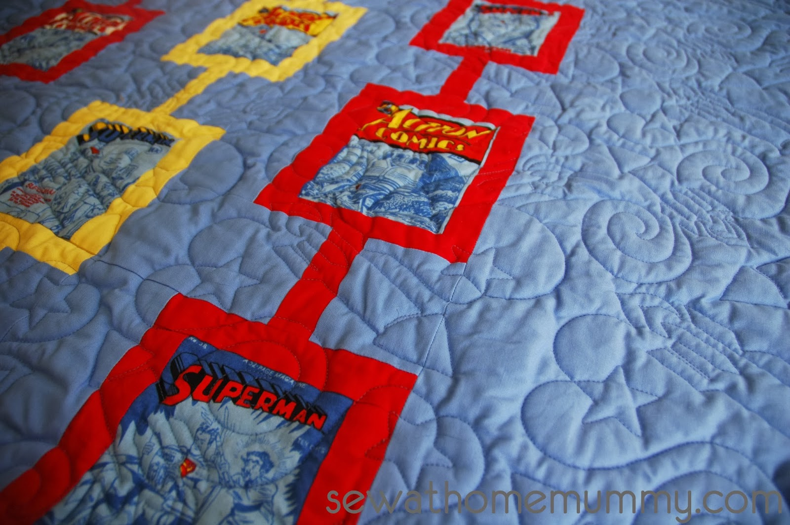 Superhero quilt ideas for boys, superman quilt