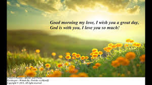 good morning my love, i wish you a great day, god is with you, i love you so much!