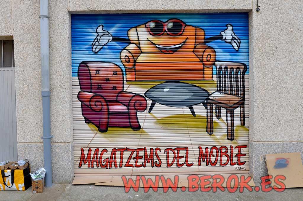 Berok Graffiti mural profesional en Barcelona: Graffitis para tienda de muebl...
