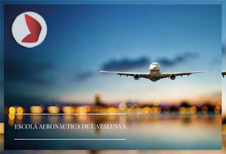 foto avión en vuelo y logo de la escola aeronàutica de Catalunya