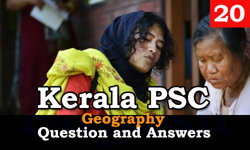 Kerala PSC Geography Question and Answers - 20