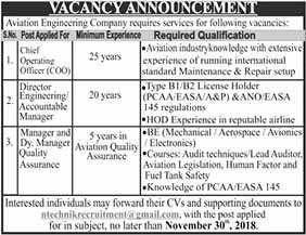 Aviation Engineering Company Nov 2018 Jobs