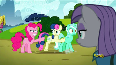Bon Bon pushes Lyra away from Pinkie