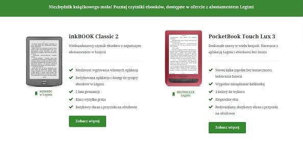 Czytniki za złotówkę w abonamencie Legimi: InkBook Classic 2 i PocketBook Touch Lux 3 Ruby Red