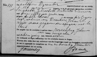 Elise Antoinette Eleanora Seignette Death notification (year of death is at top of page - not included here) (from WieWasWie site)