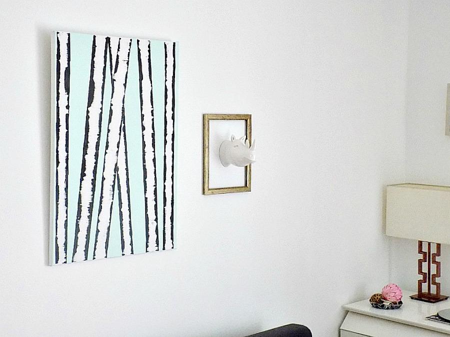 Birch trees wall art diy, hippo in a frame