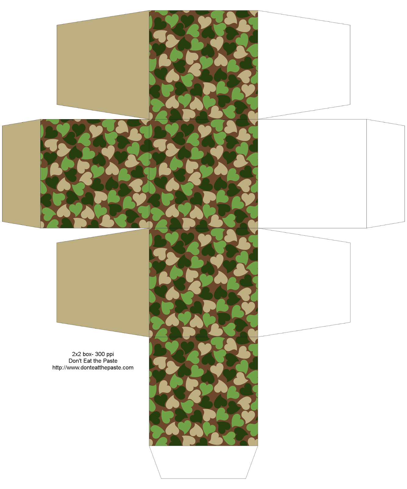 Printable woodland camouflage hearts box- 2 sizes available #Valentine #papercrafts