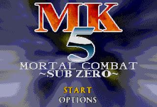 Captura de pantalla de título del MK5 Sub Zero, clon pirata de Mortal Kombat Mythologies: Sub-Zero