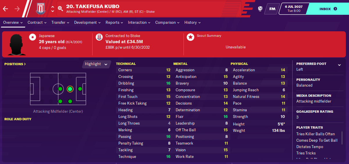 Takefusa Kubo: Attributes in 2027 season