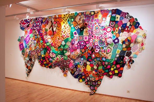 Poderosos Colores Coloridos Cuadraditos De Crochet En La