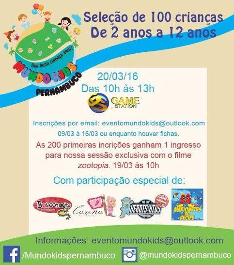 Seleção para o  Mundo Kids Pernambuco