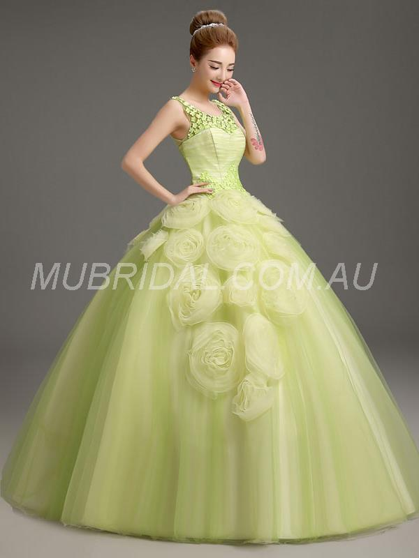 All Sizes Fall Ball Gown Winter Spring Scoop Summer Green Dress