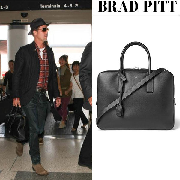 Brad Pitt with black leather Saint Laurent briefcase celebrity men style