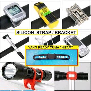 Silicon Strap hanger atau bracket lampu speedo meter botolcage pompa tool sepeda