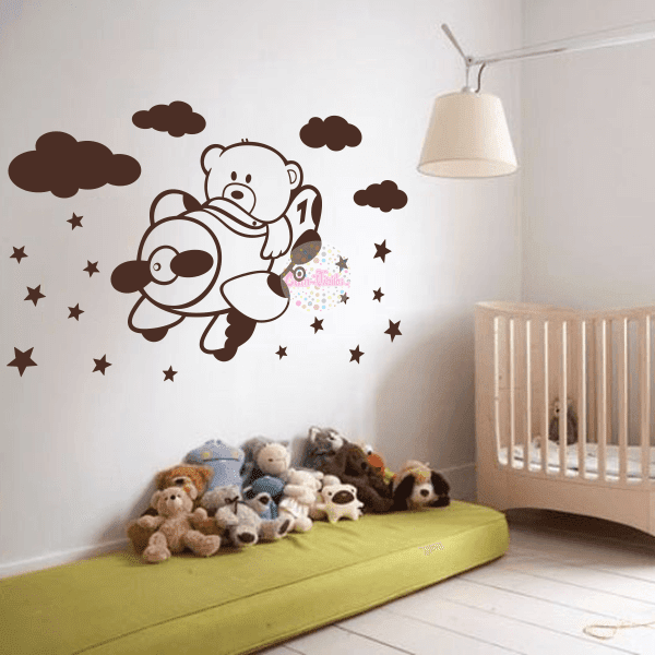 Vinilo decorativo infantil para pared oso aviador piloto for Vinilos infantiles estrellas