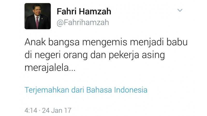Kicauan Fahri Hamzah soal mengemis jadi babu