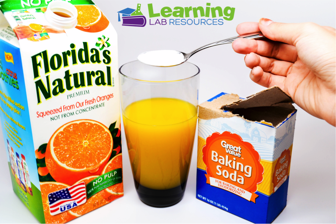 """Teach about the states of matter (solids, liquids, gases) by making """"orange soda"""" with orange juice and baking soda."""