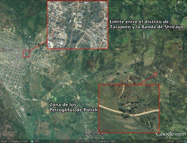 Mapa que indica el límite entre Tarapoto y la Banda de Shilcayo y Polish (Imagen de Google Earth)