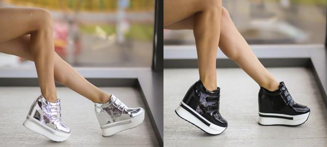 Adidasi cu platforma inalta negri, argintii la moda 2019 ieftini