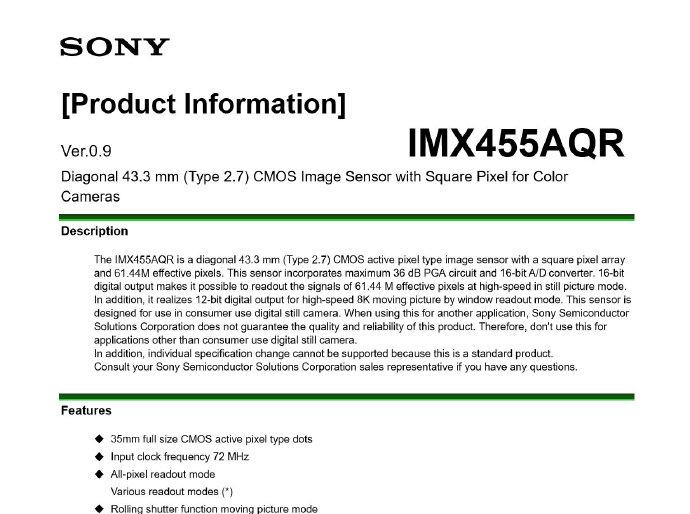 Техническая информация о сенсоре Sony IMX455