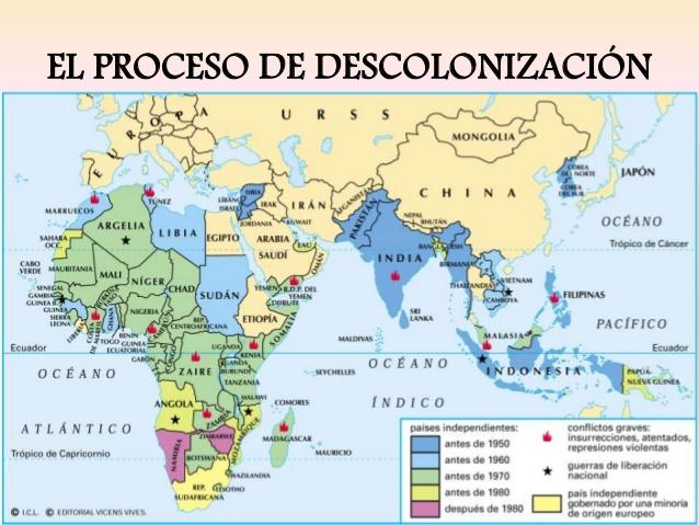 """Resultado de imagen de DESCOLONIZACIÃ""""N PAISES NUEVOS"""