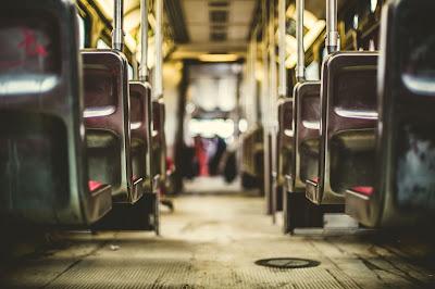 taking public transportation on bus