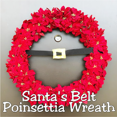 Create a beautiful and simple Santa's belt for your Christmas door with this simple DIY using ribbon, mini poinsettias, and glue.  So easy and so festive.