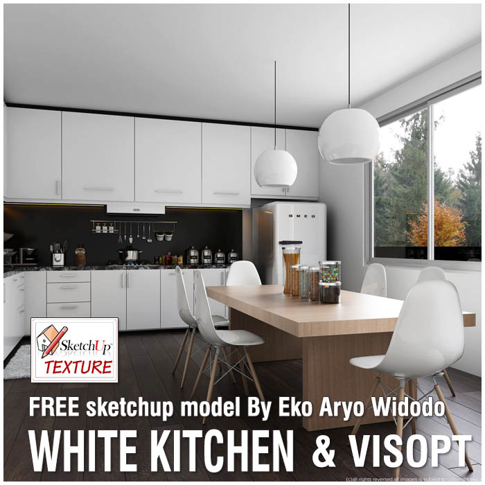 White Kitchen, Free Sketchup 3d Model And Vray Visopt