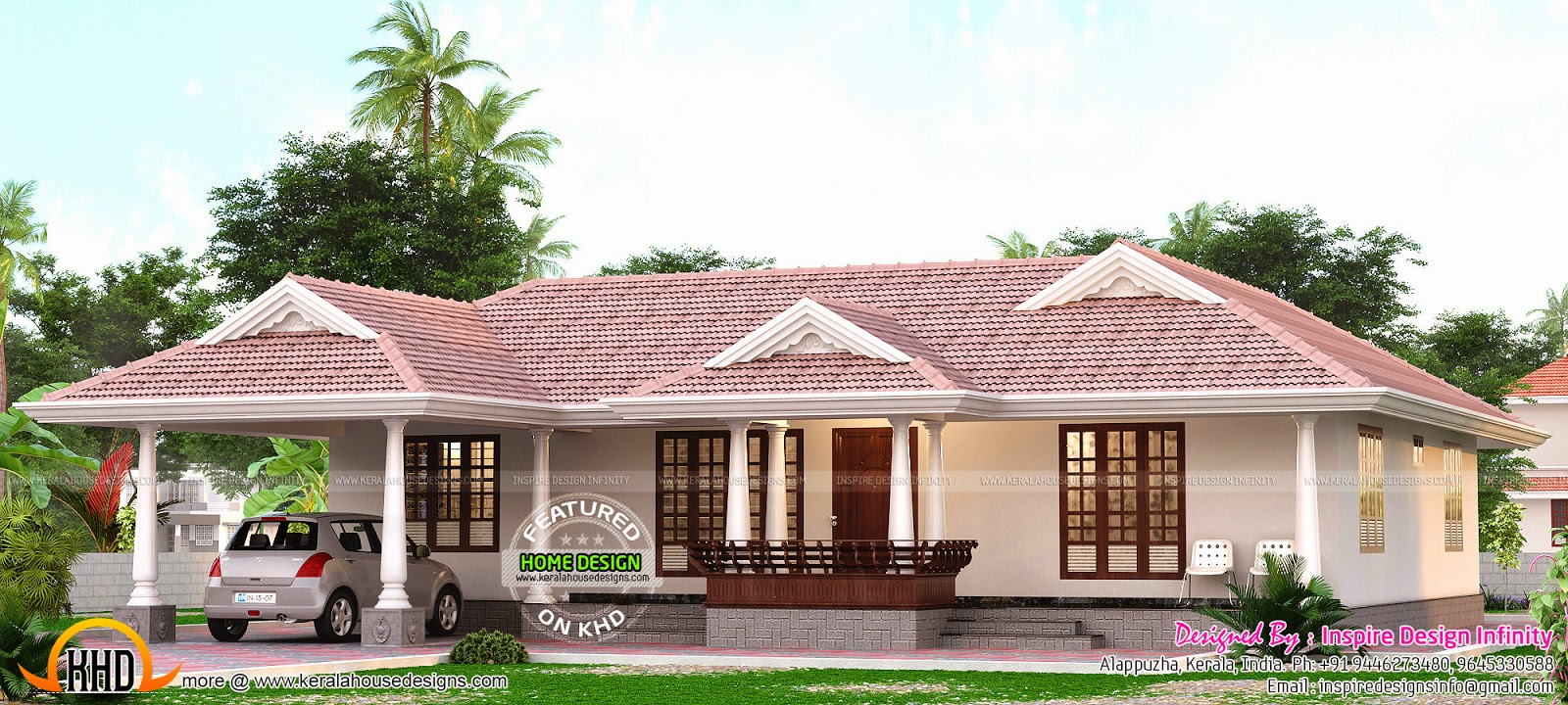 Kerala model single storied home kerala home design and for Kerala style 2 bedroom house plans