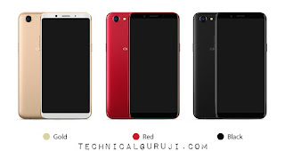 Oppo F5 Smartphone with 3 different colours