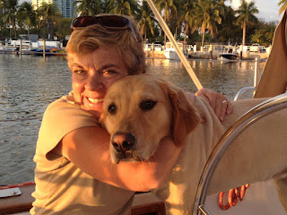 Scout and Nan on board Whispering Jesse in Miami