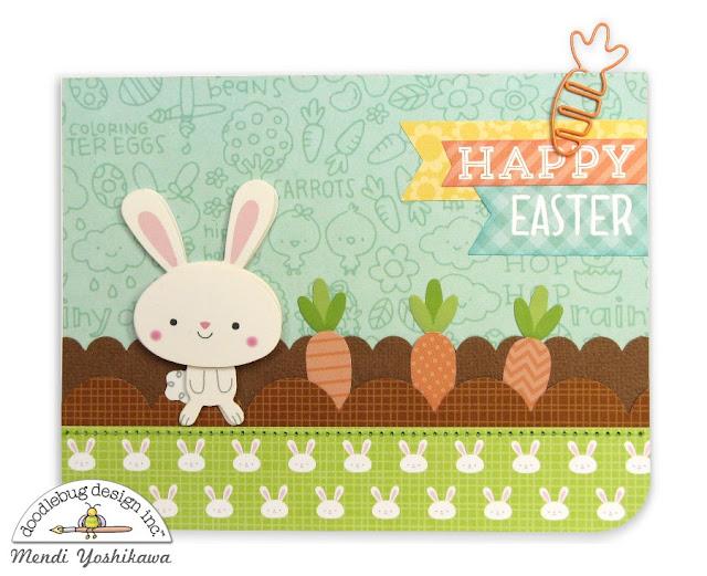 Doodlebug Design Easter Express Bunny & Carrot Garden Card by Mendi Yoshikawa