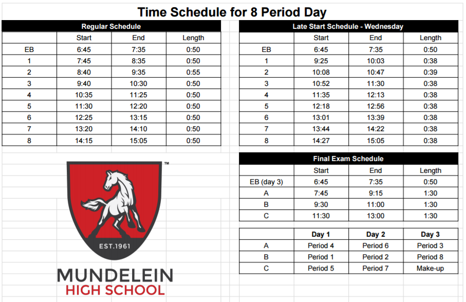 mustang news mhs releases time schedule for 8 period day mustang