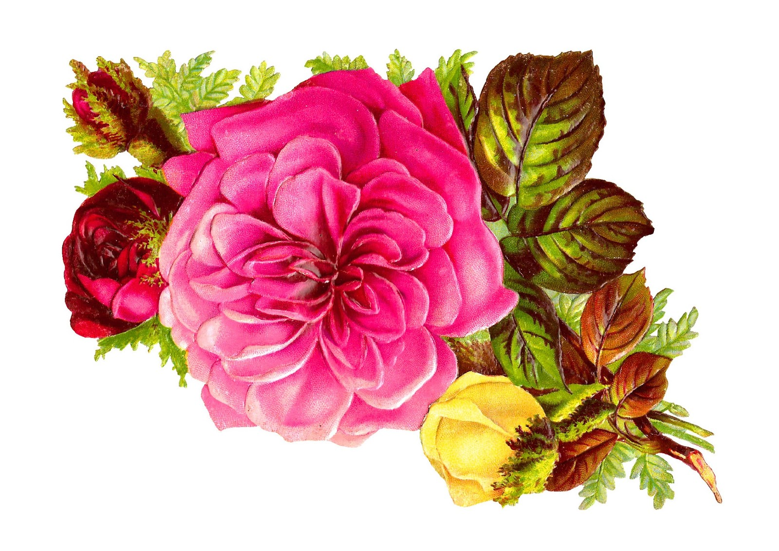 Antique images rose bouquet clip art of pink red and yellow flowers rose flower bouquet clip art mightylinksfo