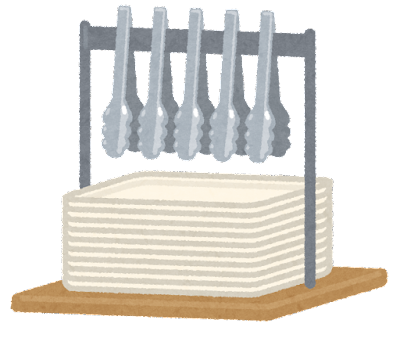 パン屋のトレイとトングのイラスト