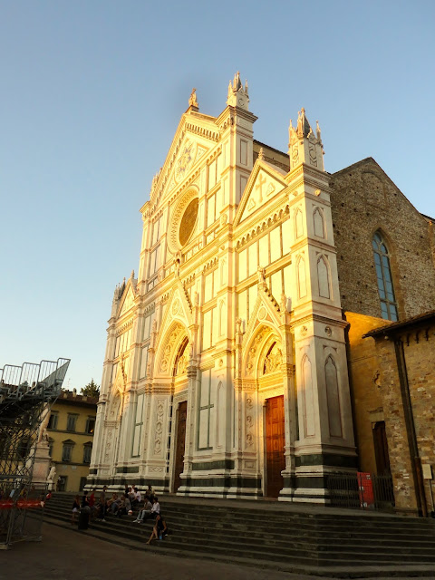 Basilica of Santa Croce at dusk in Florence, Italy