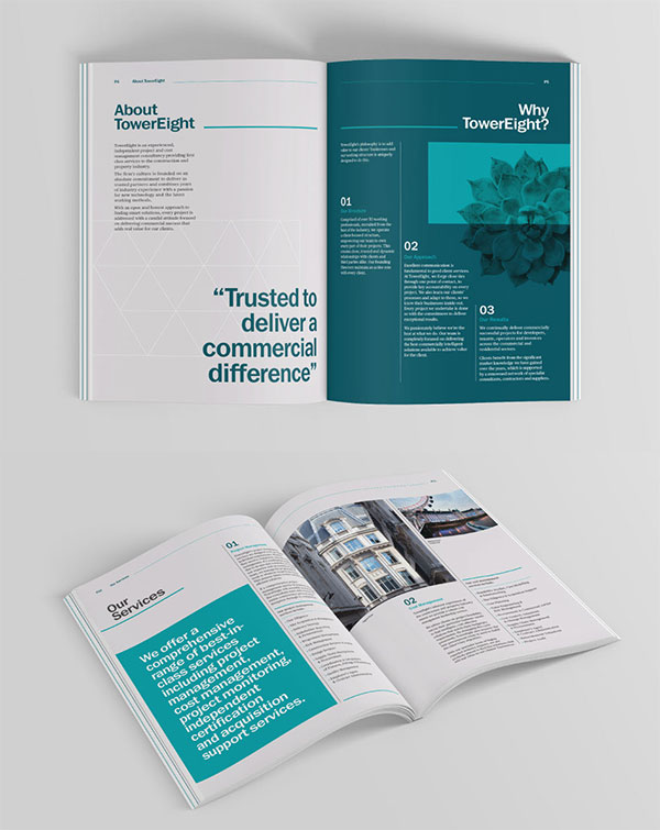Inspirasi 20+ Desain Brosur dan Katalog Modern - TowerEight Brand refresh Brochure Design