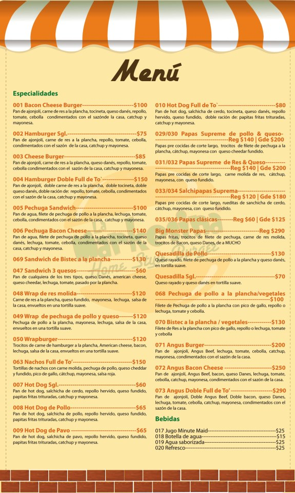 Mexican Restaurant Menu Written In Spanish