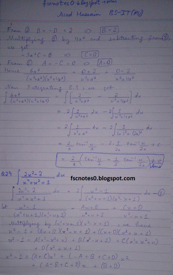 FSc ICS Notes Math Part 2 Chapter 3 Integration Exercise 3.5 question 23 - 31 by Asad Hussain 8
