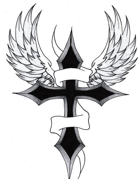 Banner Black Cross Wings Tattoo Design