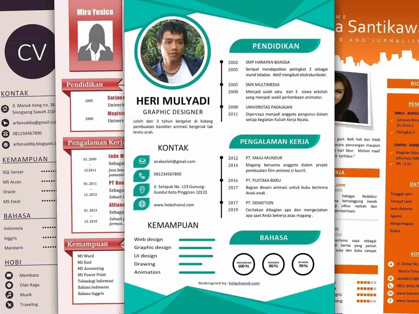 contoh cv lamaran kerja menarik word pdf curriculum vitae