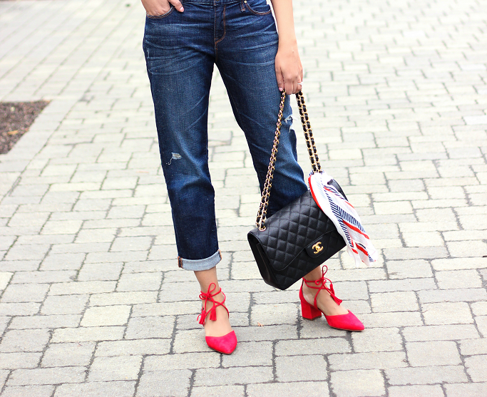 Halogen Iris Lace Up Pumps, J.Crew Long Sleevs, Off The Shoulder Top, Gap Boyfriend Jeans, Chanel Jumbo Caviar