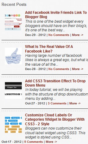 Recent Post Widget For Blogger With Thumbnails: How to Add Step By
