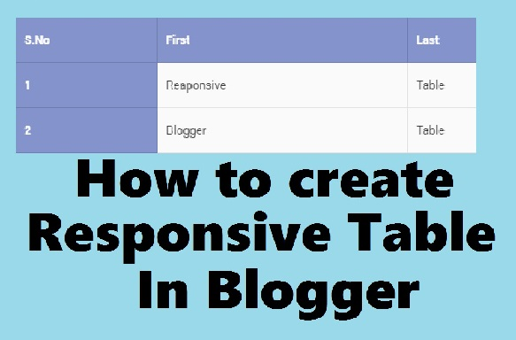 How to create a Responsive Table in Blogger