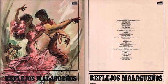 """GASPAR DE UTRERA, LA REPOMPA DE MÁLAGA, ANTONIO MAIRENA, EL SERNITA D JEREZ, JARRITO, JOSÉ SALAZAR, LA CAÑETA DE MÁLAGA """"REFLEJOS MALAGUEÑOS"""" LP 1963 DECCA"""