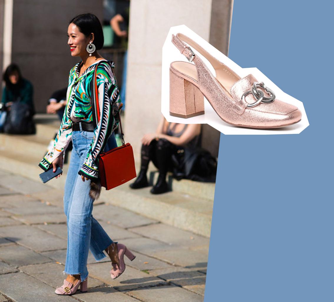 scarpe rosa punta quadrata
