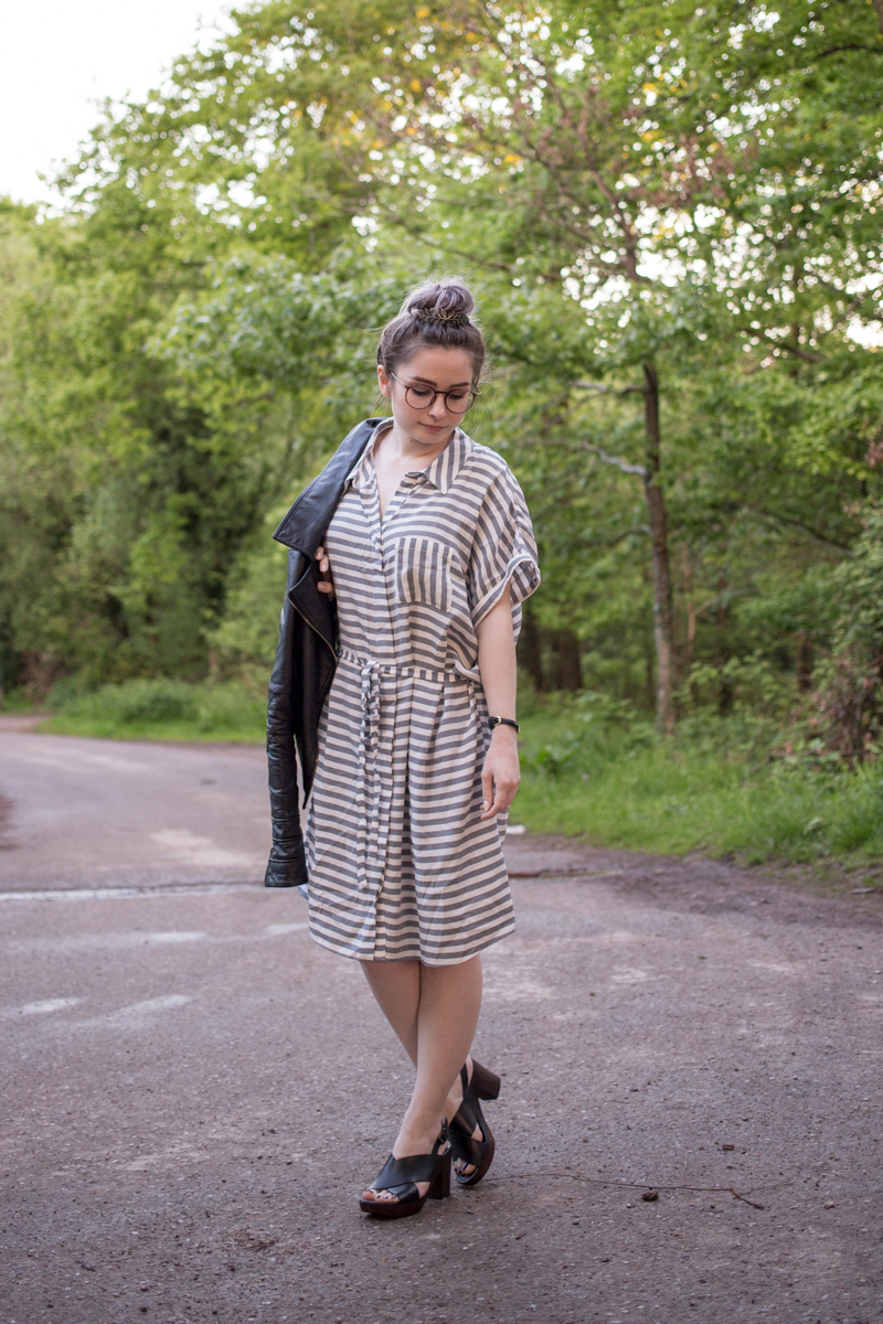 striped shirt dress summer outfit