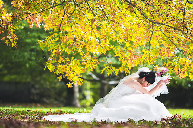 yellow flower tree bride side