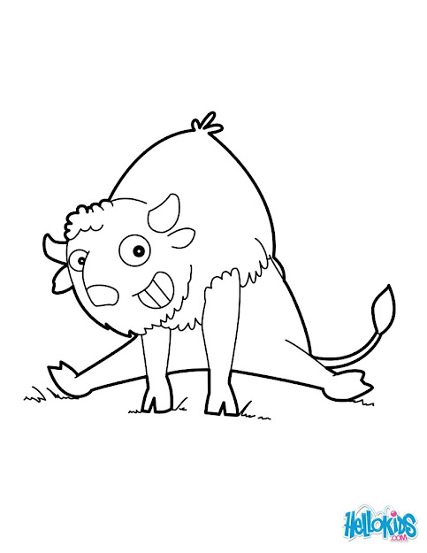 Frightened Bison Funny Buffalo Coloring Page